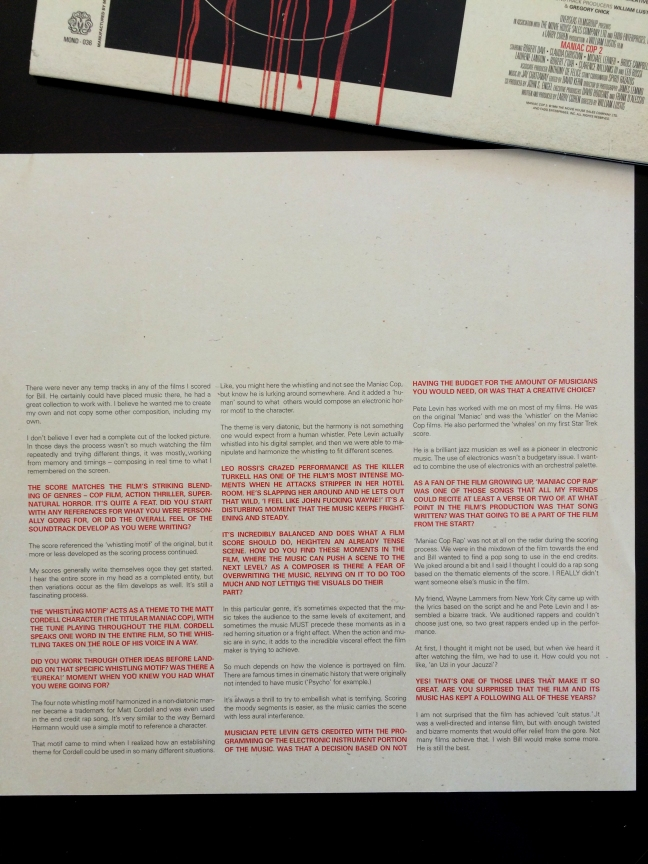Liner notes insert of 'Maniac Cop 2' LP